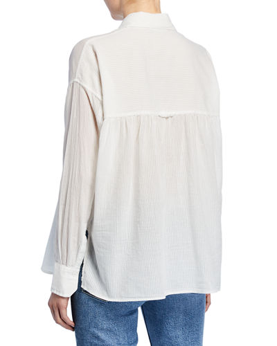 Semisheer Textured Button-Front Top