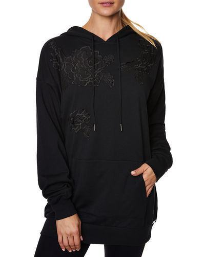 Lace Floral Applique Hoodie Dress