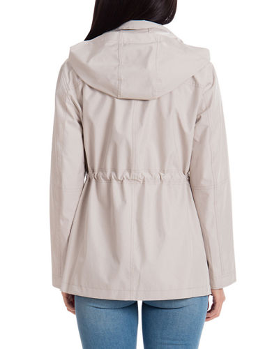 Short Nylon Hooded Rain Anorak Coat