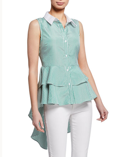 Striped Ruffle Poplin Blouse