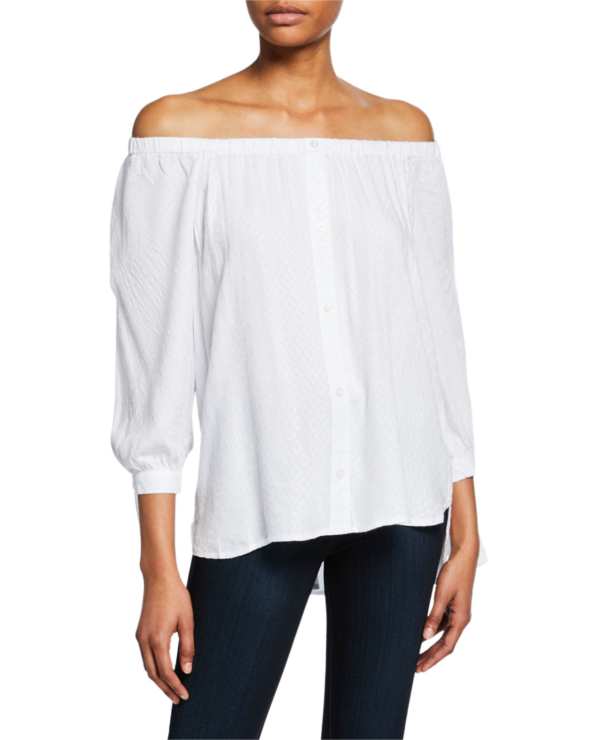 Off the Shoulder Tie Cuff High Low Top