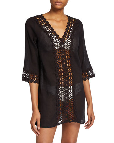 Scallop Crochet Lace-Panel Coverup