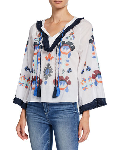 Boho Embroidered Cotton Top