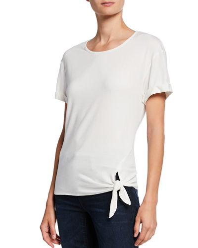 Side-Tie Short Cuffed Sleeve T-Shirt