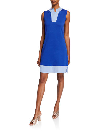 Colorblock High V-Neck Sleeveless Dress