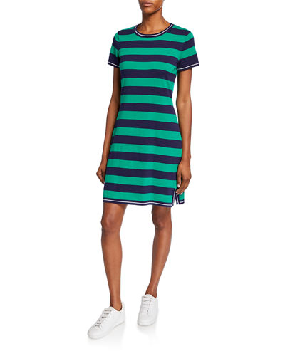 Striped Crewneck Shirt Dress