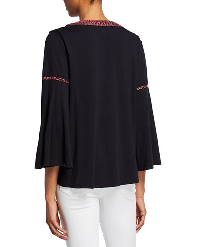 Violette 3/4-Sleeve Embroidered Swing Blouse