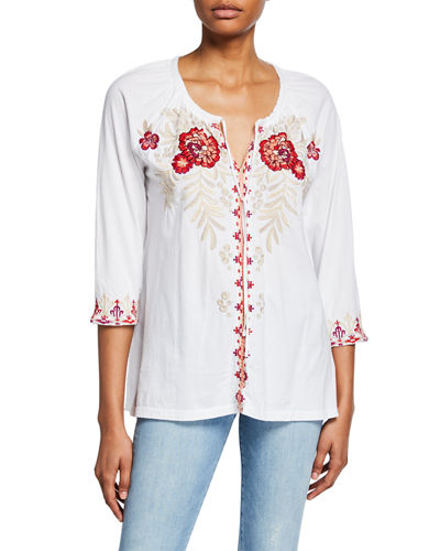 Maya Floral Embroidered Peasant Blouse