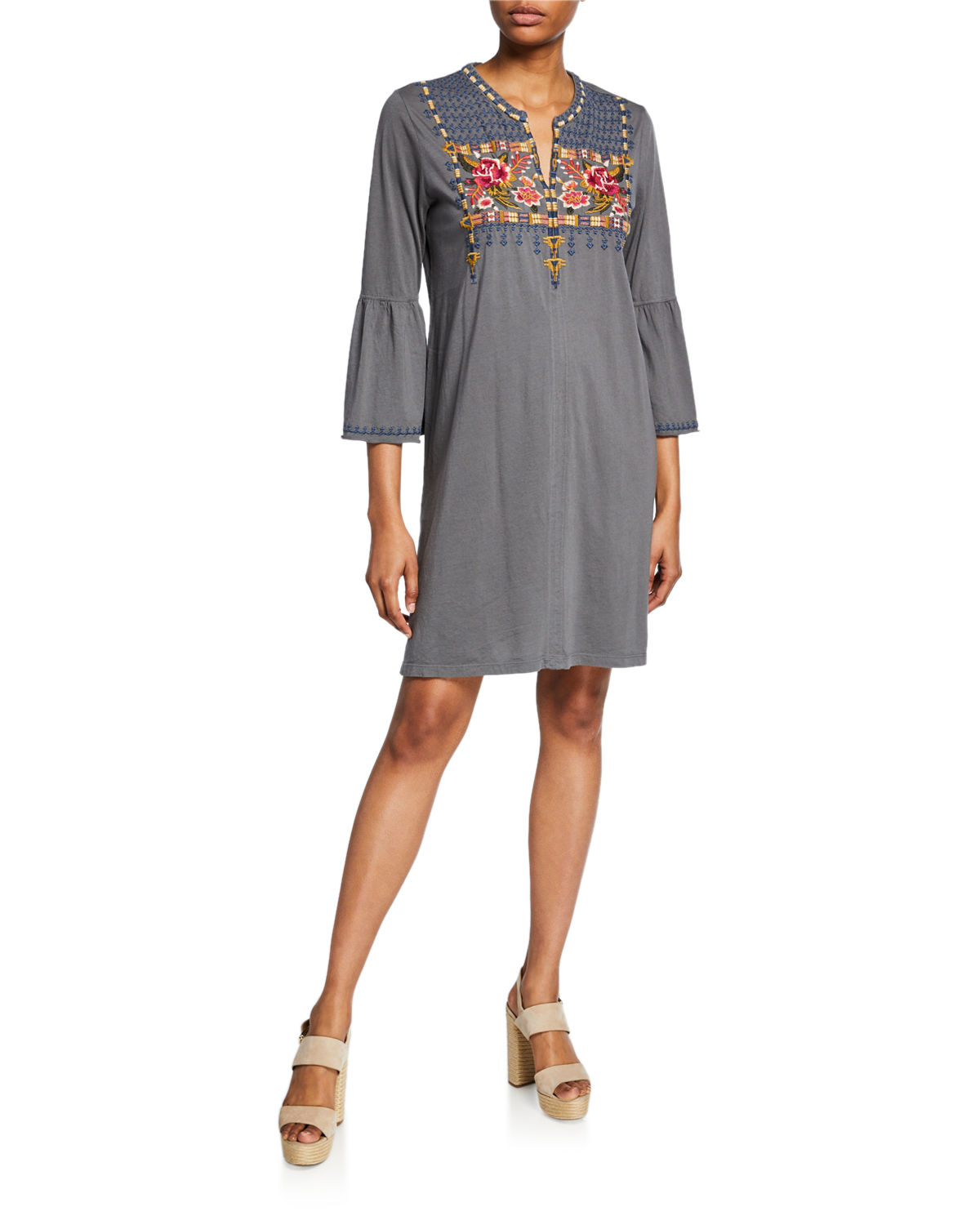 Axton Flare-Sleeve Embroidered Tunic Dress
