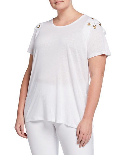 Plus Size Grommet Laced Shoulder Top