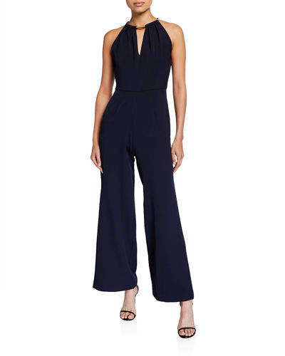 Sleeveless Necklace-Halter Keyhole Jumpsuit
