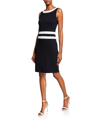 Santana Knit Sleeveless Dress w/ Contrast Trim