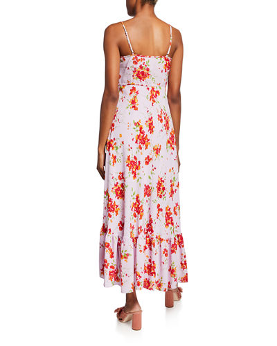 Floral Ruffle High-Low Tie-Waist Maxi Dress