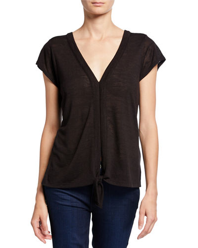 Ingrid V-Neck Short-Sleeve Tie-Front Top