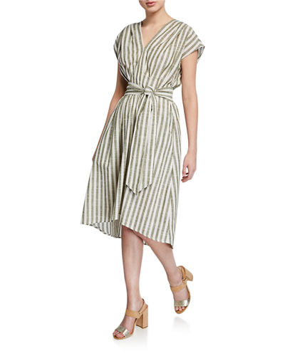 Asymmetrical Striped Tie Dress