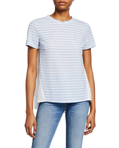 Striped Knit Short-Sleeve Combo Tee
