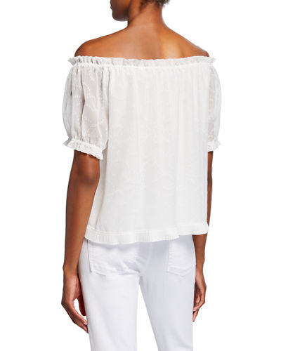 Lantern-Sleeve Off-The-Shoulder Blouse