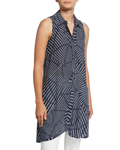 8ca0a69c Neiman Marcus Printed Sleeveless Button-Down Blouse
