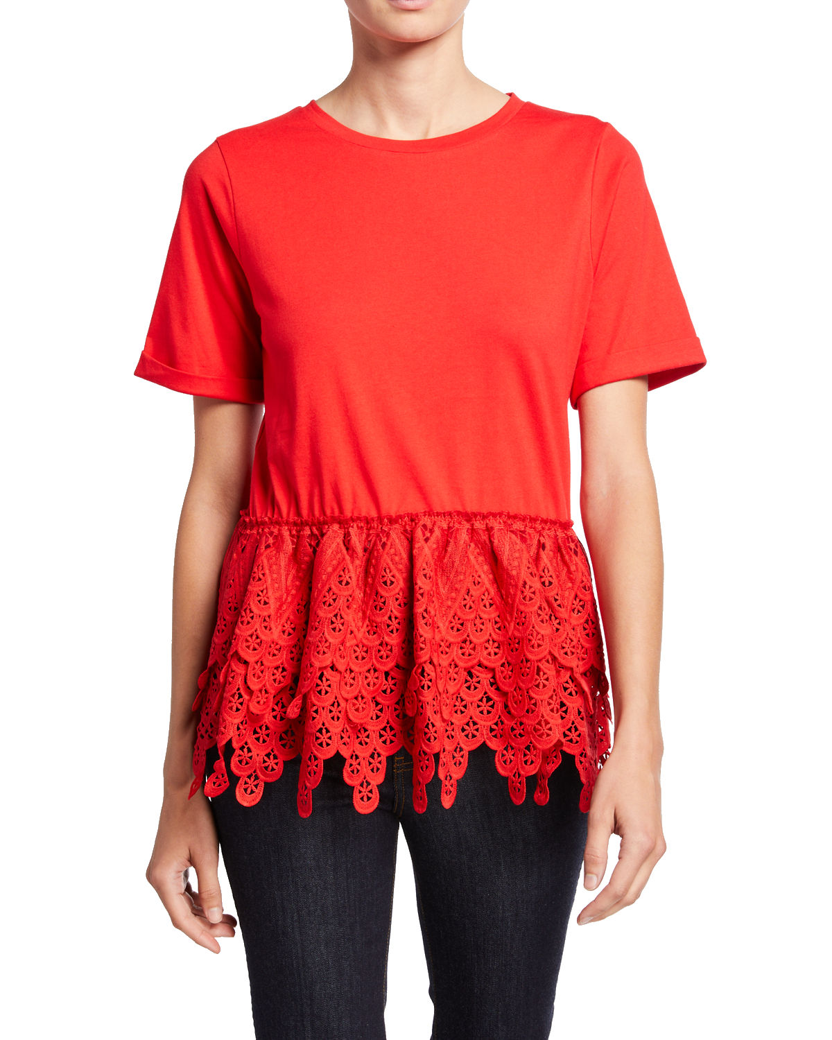 Endless Rose Shorts CREWNECK SHORT-SLEEVE LACE PEPLUM TOP