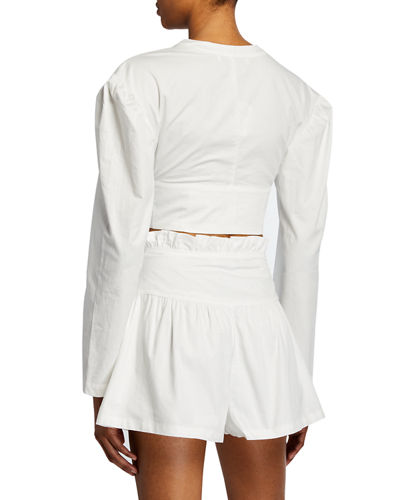 V-Neck Button-Front Long-Sleeve Poplin Crop Top