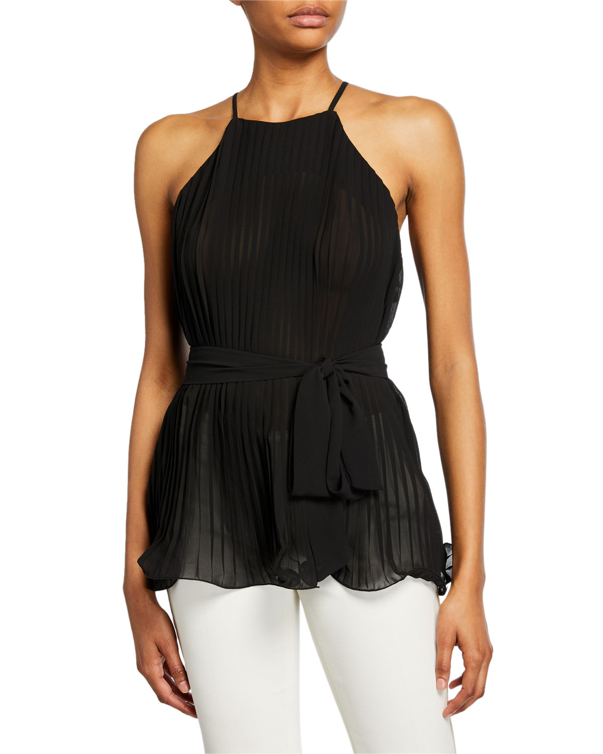 Endless Rose Tops PLEATED HALTER TOP