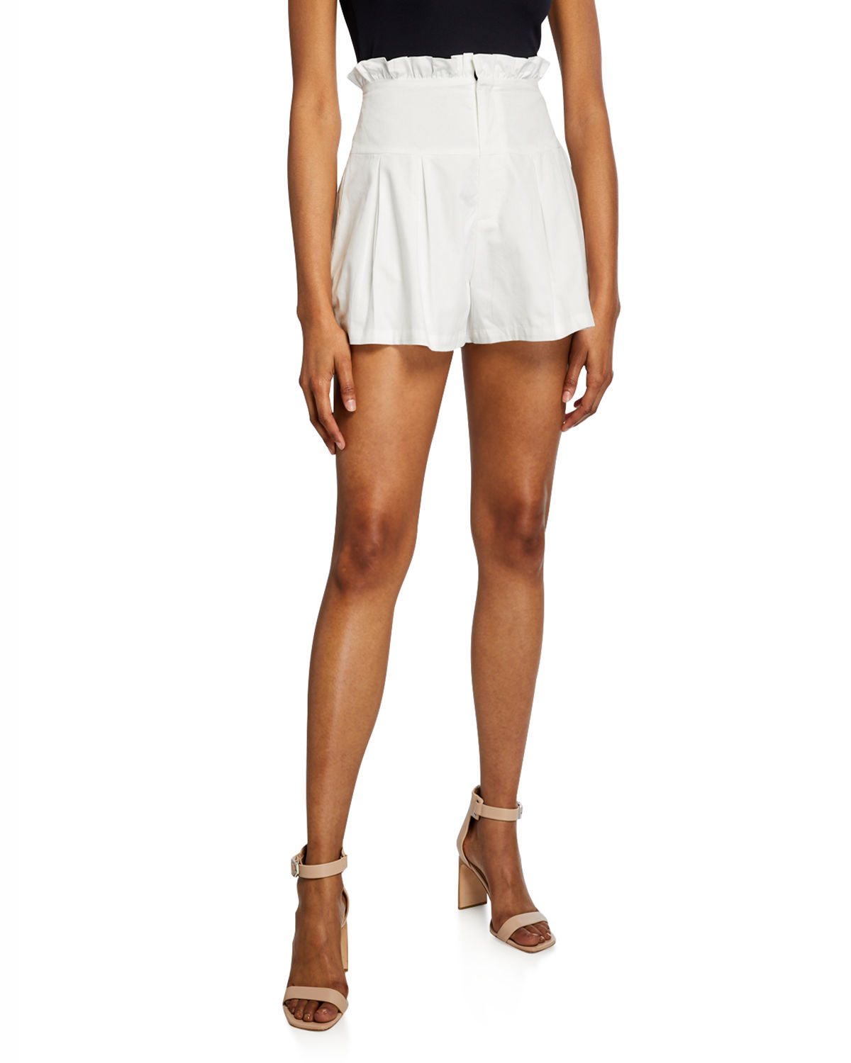 Endless Rose Shorts HIGH-WAIST PLEATED COTTON POPLIN SHORTS