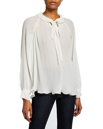 Tie-Neck Pleated Chiffon Blouse