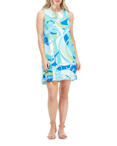 Abstract Sleeveless Shift Dress