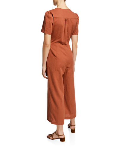Short-Sleeve Cropped Casual Linen Jumpsuit