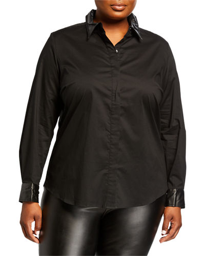 Plus Size Shirt with Faux-Leather Trim