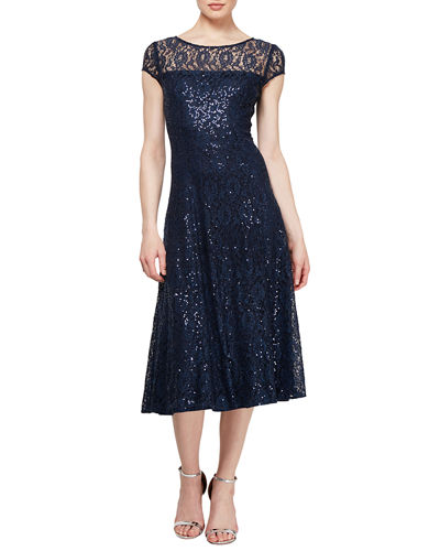 Bateau-Neck Cap-Sleeve Embellished Lace Cocktail Dress