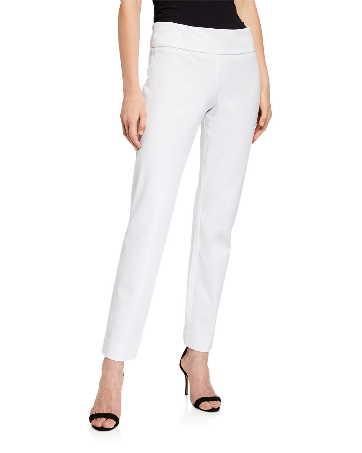 Neiman Marcus Pants PULL-ON STRETCH COTTON ANKLE PANTS