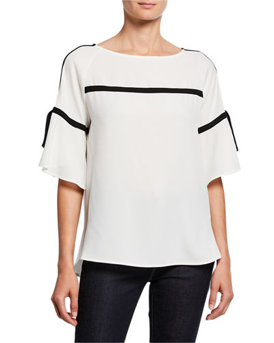 Boat-Neck Contrast Piped Bell Sleeve Top