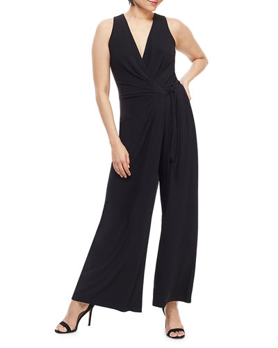 Wrap Top Side-Tie Wide-Leg Jumpsuit