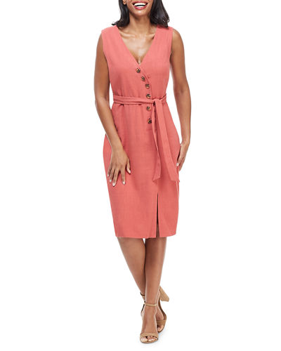 Button Self-Tie Wrap Dress