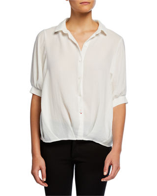 NEIMAN MARCUS | Button-Front Elbow-Sleeve Gathered Blouse | Goxip