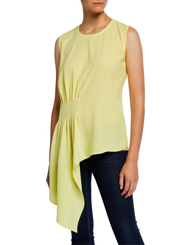 Crewneck Sleeveless Drape-Front Asymmetric Top