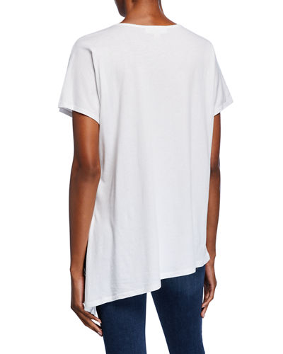 Short-Sleeve Side-Tie Grommet Neck Asymmetric Tee