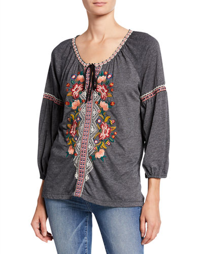 Juliene Floral Embroidered Tie-Neck Blouse