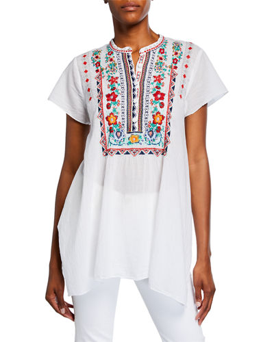 Liesse Embroidered Short-Sleeve Top