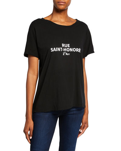 Marion By Etienne Marcel Typography Boxy Distressed Cotton Tee by Marion By Etienne Marcel