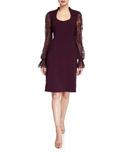 Diva Scoop-Neck Embroidered Blouson-Sleeve Dress