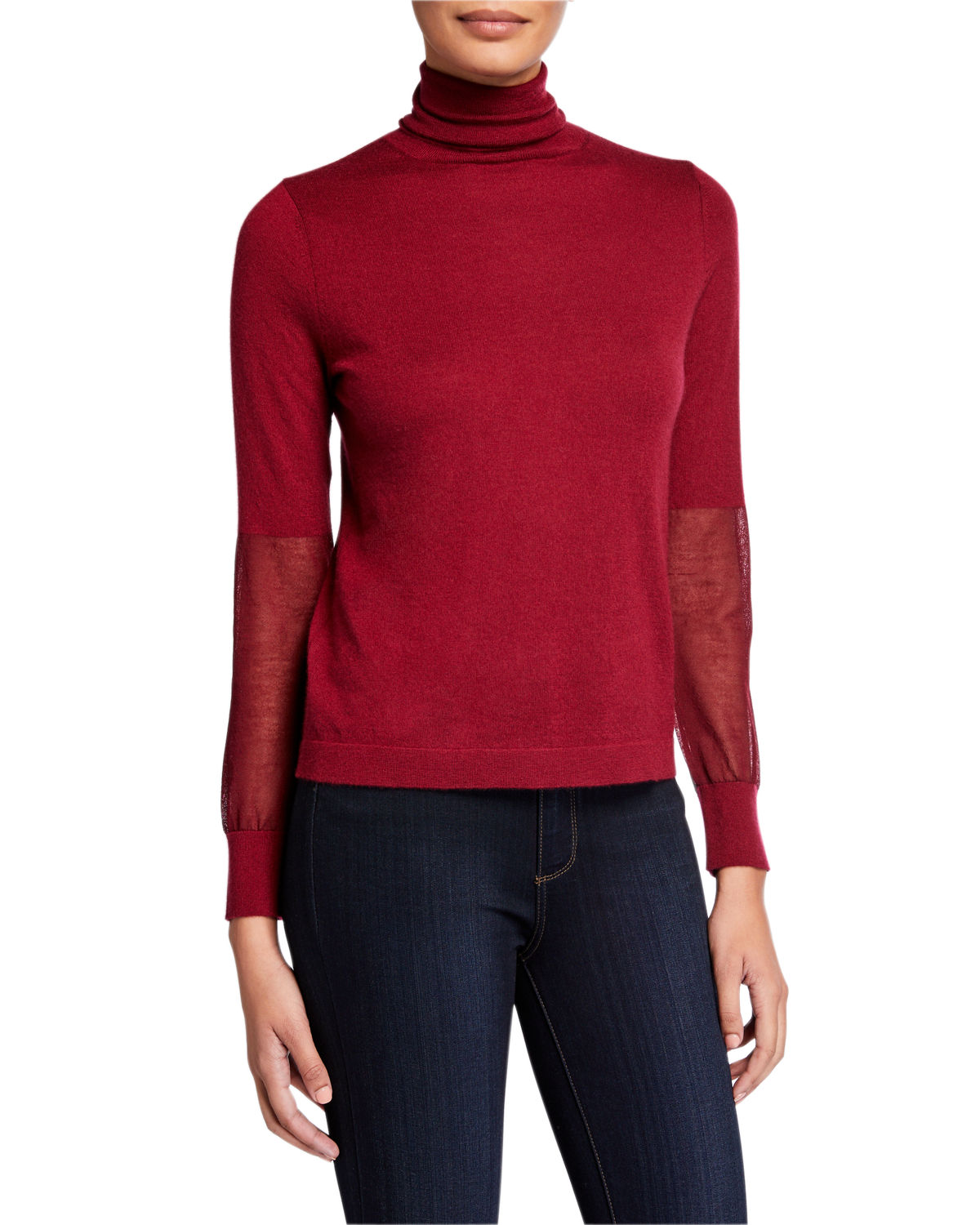 Neiman Marcus SUPERFINE CASHMERE TURTLENECK SWEATER WITH SHEER PANELS