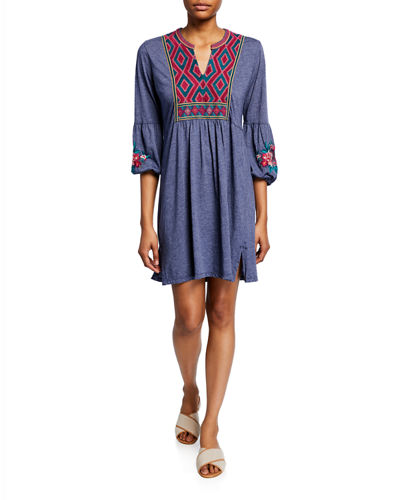 Annaliese Bishop-Sleeve Embroidered Peasant Dress