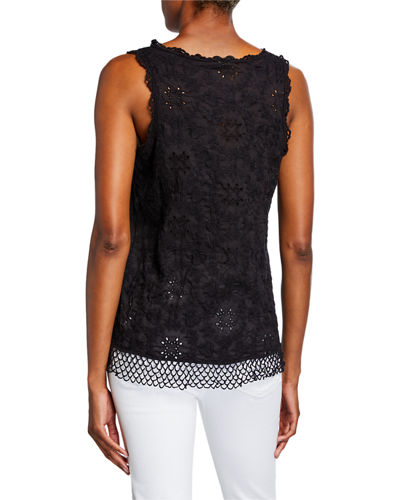 Quynn Embroidered Voile Scoop-Neck Tank