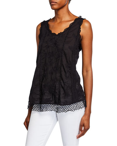 Johnny Was Quynn Embroidered Voile Scoop Neck Tank by Johnny Was