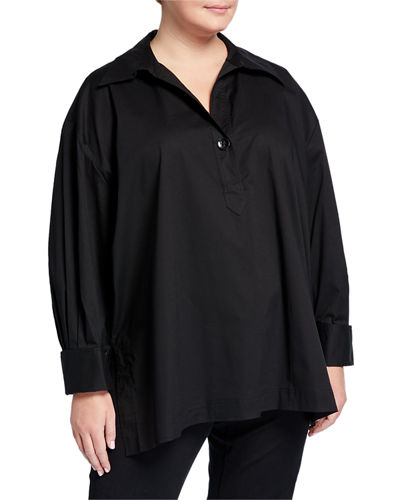 Plus Size Long-Sleeve Boxy Slit-Hem Shirt