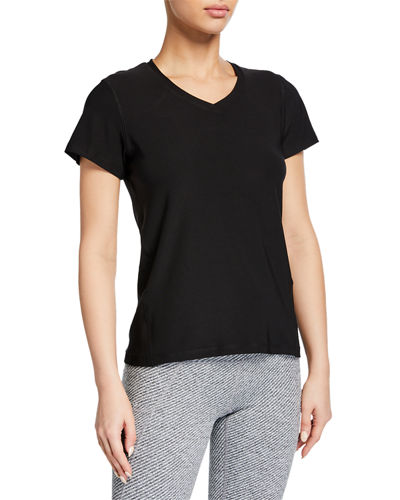 Loose-Fit V-Neck Mesh-Sleeve T-Shirt