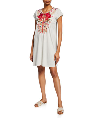 Burke Floral Embroidered Short-Sleeve Tunic Dress