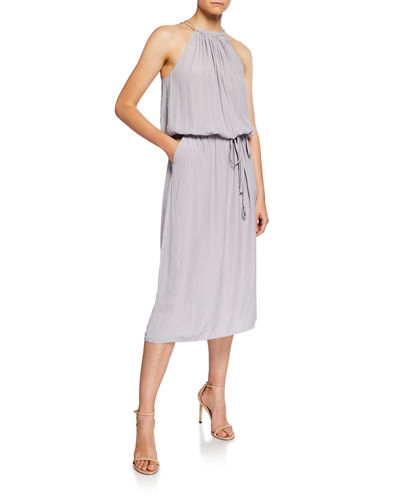 Anya Halter Blouson Midi Dress
